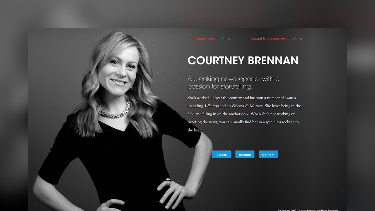 A screenshot of Courtney Brennan's website.