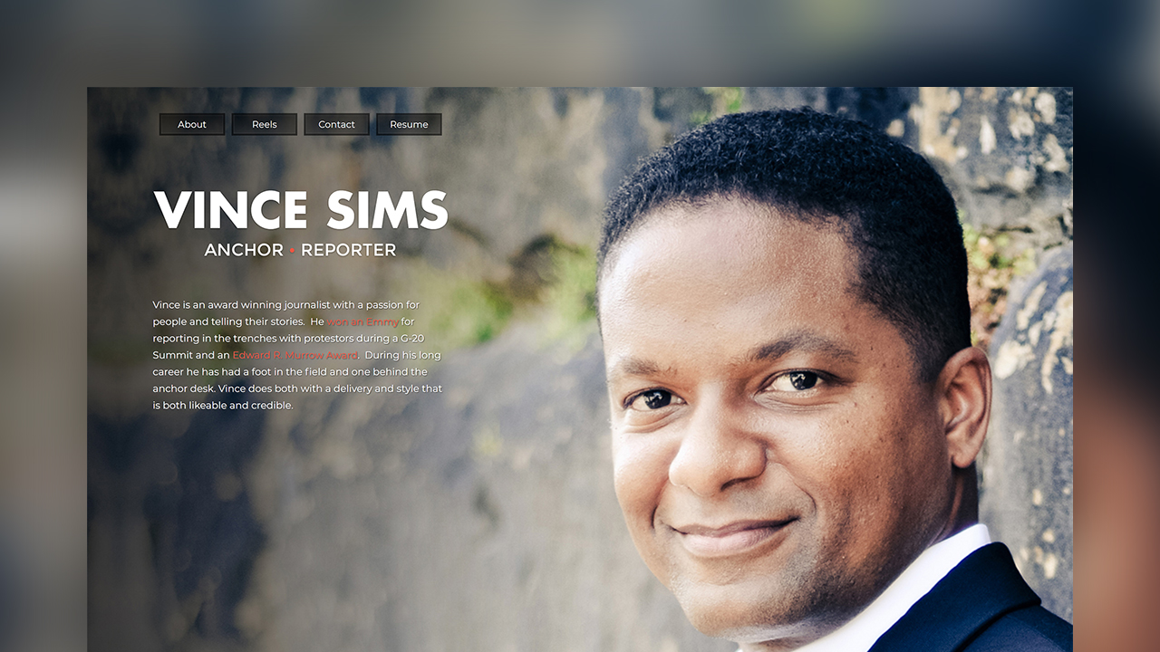 A screenshot of Vince Sims' website.