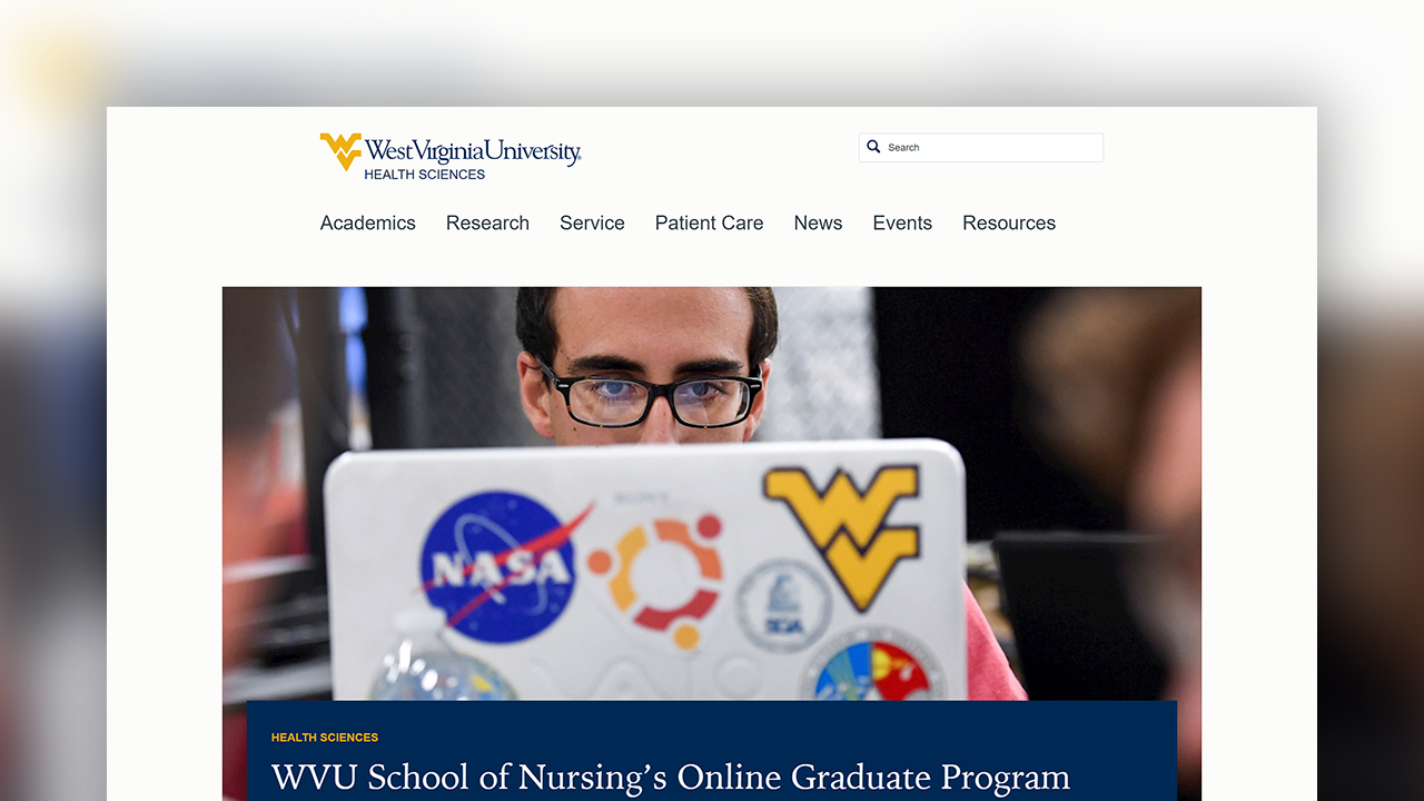 A screenshot of the West Virginia University Health Sciences website.