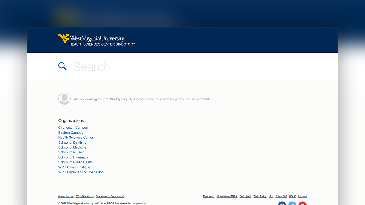 A screenshot of the West Virginia University Health Sciences Public Directory website.